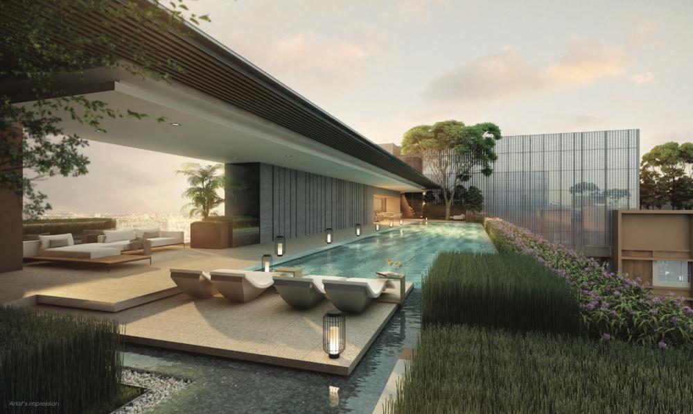 Hồ bơi chung sân thượng tại dự án căn hộ cao cấp the MarQ