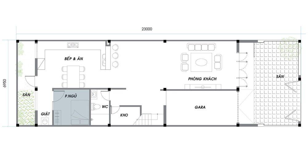 Thiết kế chi tiết An Phú News City Quận 2 tầng trệt